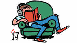 Illustration: a teen slouches in a chair, reading a book.