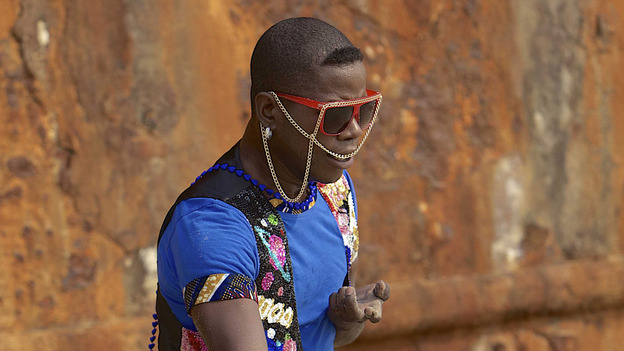 Dancer Fogo de Deus, who is part of the Os Kuduristas project of traveling kuduro artists. (courtesy of Os Kuduristas)