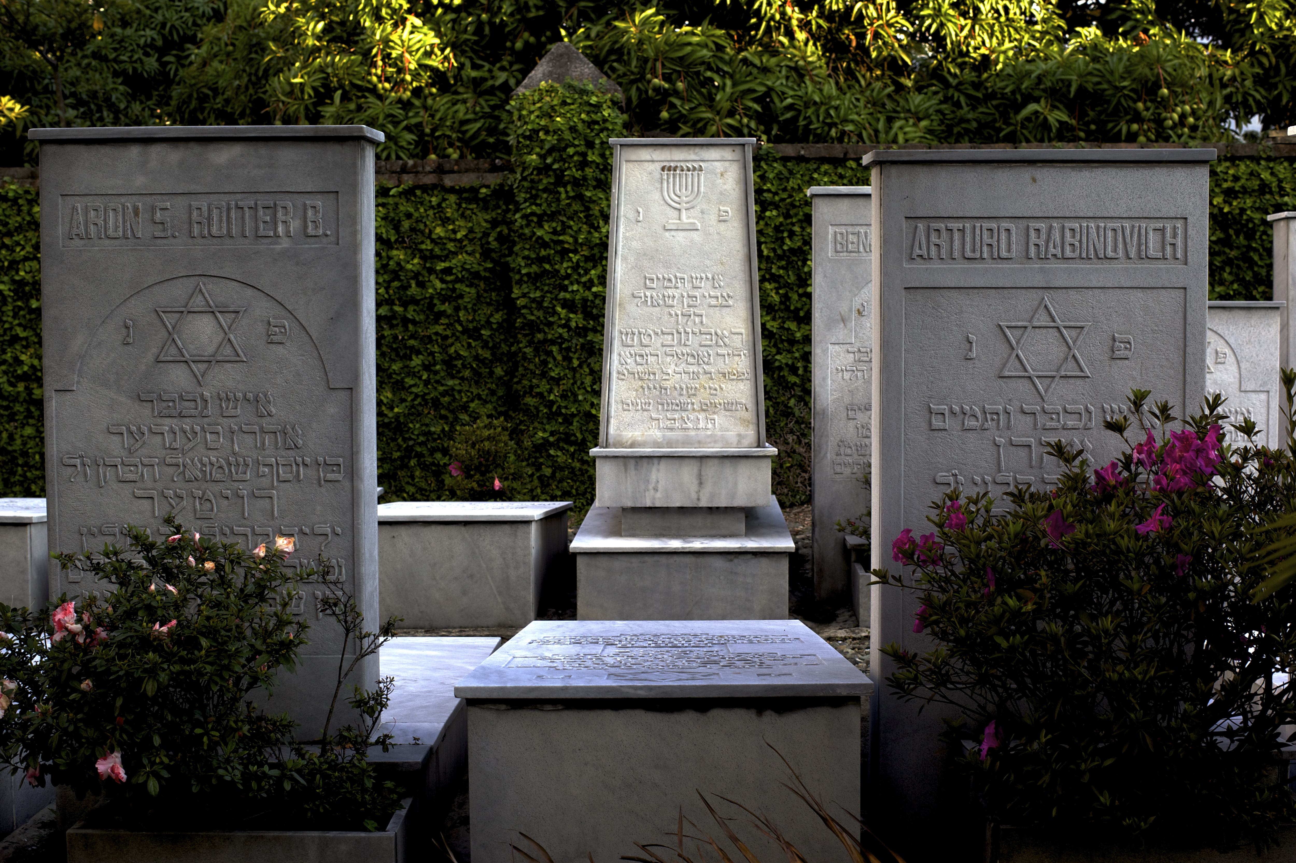 Tombstones, many of European Jewish immigrants, at the secluded Jewish cemetery in the north of Medellin.