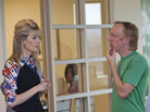 Laura Dern and series creator Mike White, shown together on the set of Enlightened, first worked together on White's 2007 film Year of the Dog.
