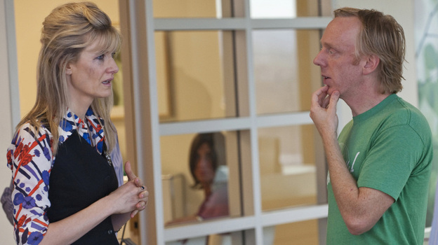 Laura Dern and series creator Mike White, shown together on the set of Enlightened, first worked together on White's 2007 film Year of the Dog. (HBO)