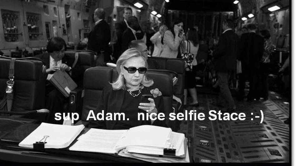 Selfie, one of the candidates for 2012's Word of the Year, means a self-portrait photograph, usually posted to a social networking site. (textsfromhillaryclinton.tumblr.com/Original image by Diana Walker for Time)