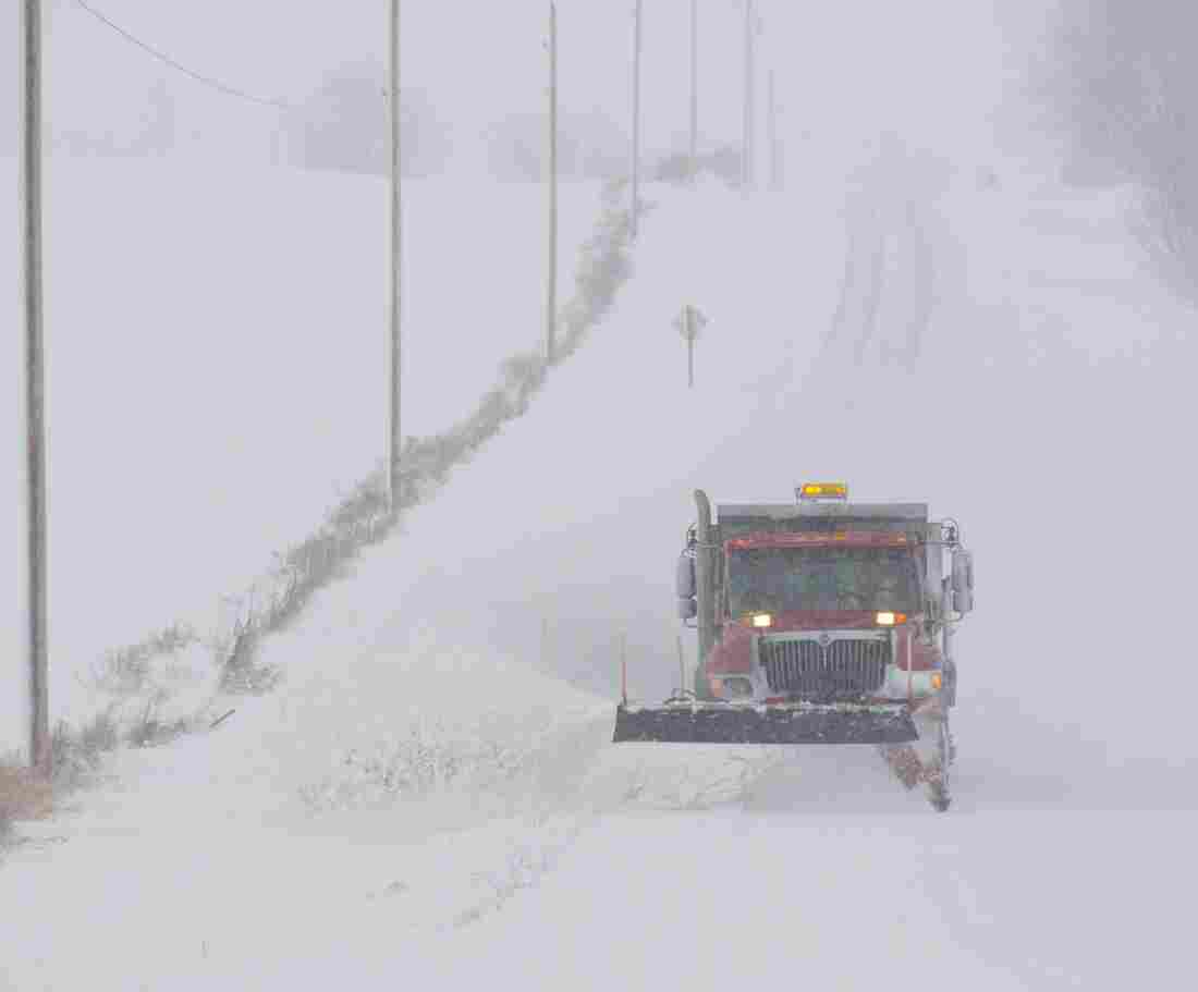 A snow plow made its way down a county road in Waupun, Wis., earlier today.