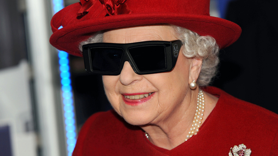 Queen Elizabeth II wears 3-D glasses during a visit to the University of Sheffield, in 2010. This year, the queen's annual Christmas message will broadcast in 3-D.