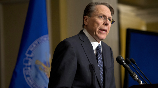 Wayne LaPierre, the National Rifle Association's executive vice president, speaks in response to the Connecticut school shootings, at a news conference in Washington on Friday. (AP)