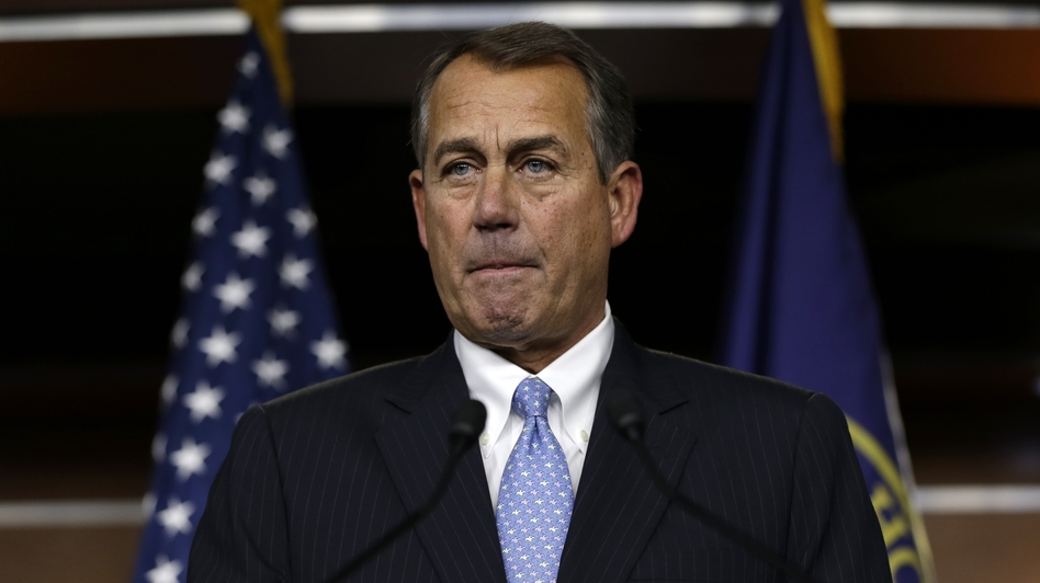 House Speaker John Boehner pauses during a news conference Thursday. House GOP leaders abruptly canceled a vote on his measure after they failed to round up enough votes for it to pass.