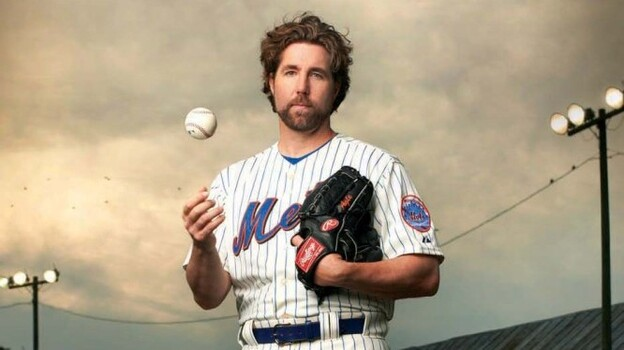 R.A. Dickey currently plays for the New York Mets. He was previously with the Seattle Mariners, Minnesota Twins, Texas Rangers and Milwaukee Brewers. (courtesy of the author)