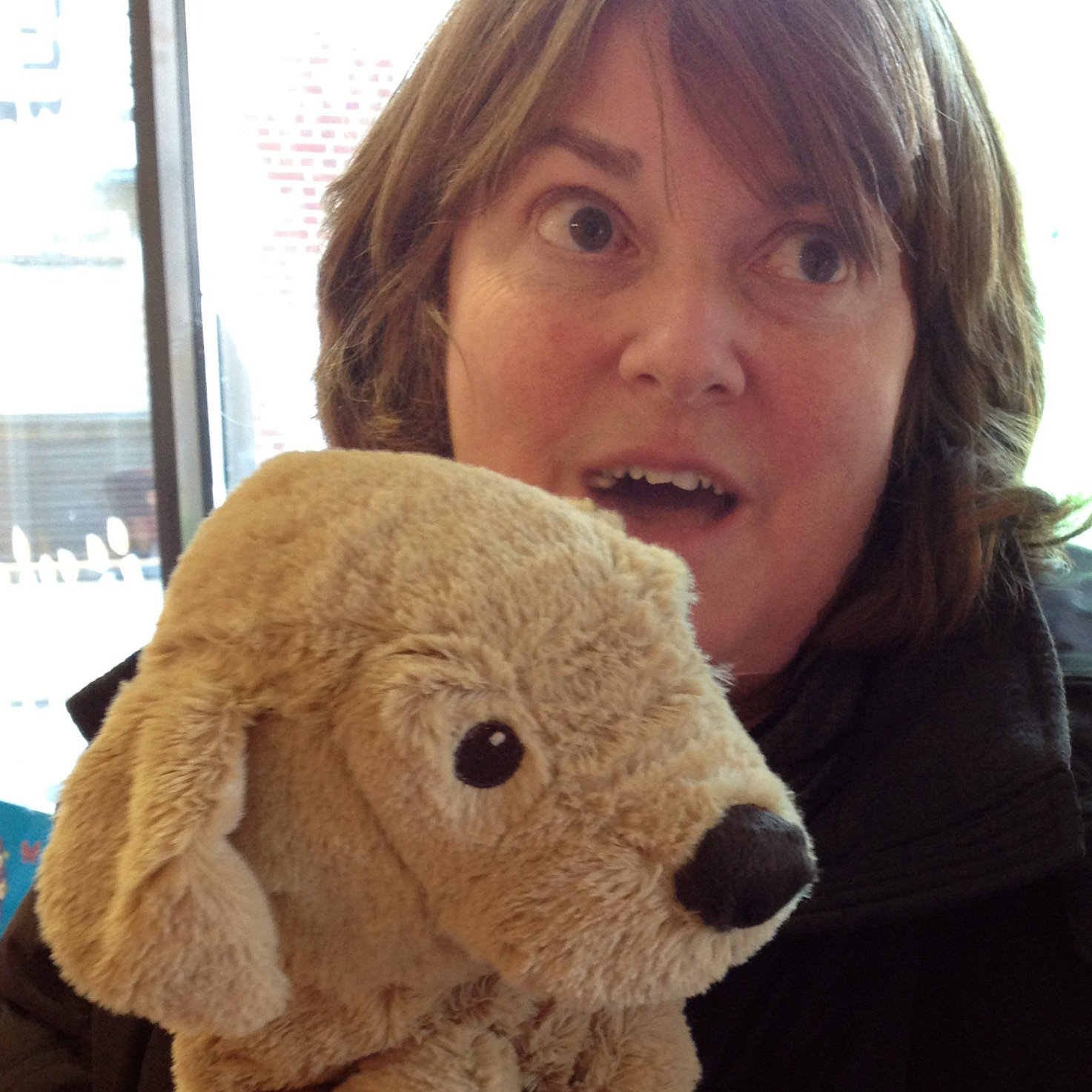 """I got this stuffed puppy, that's just such a love,"" says toy shop visitor Eileen Pepel, whose extended family lost several homes on Staten Island in Hurricane Sandy."