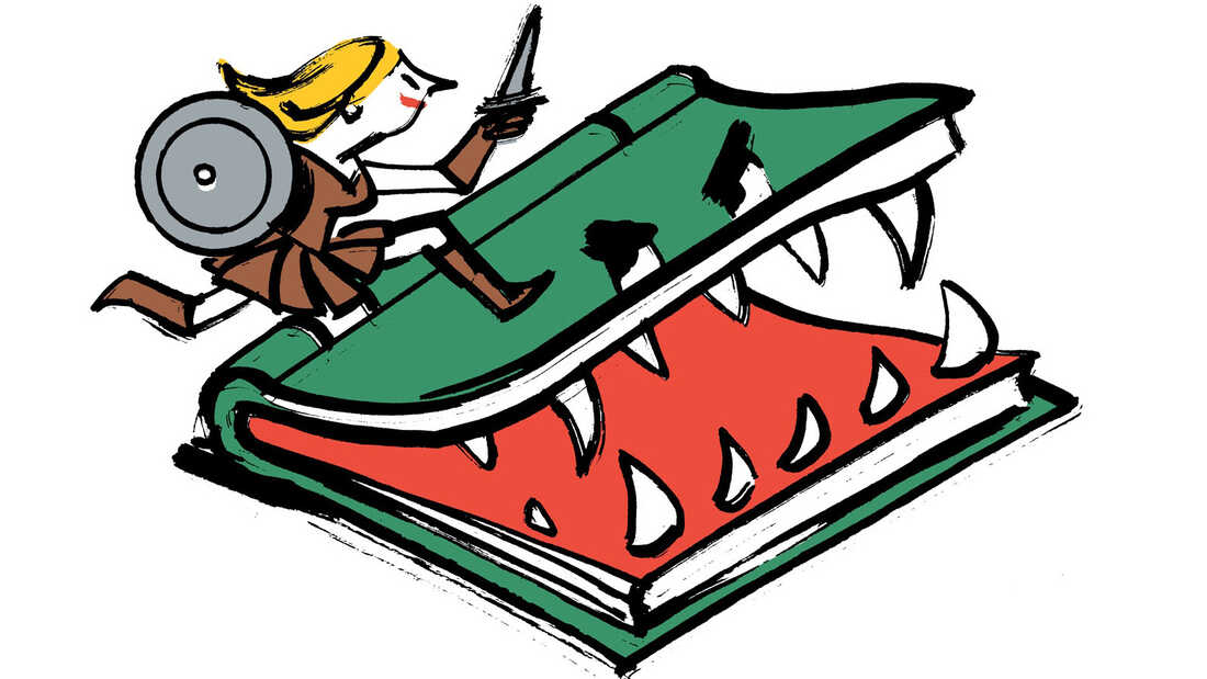Illustration: A woman with a sword and a shield battles a ferocious book.