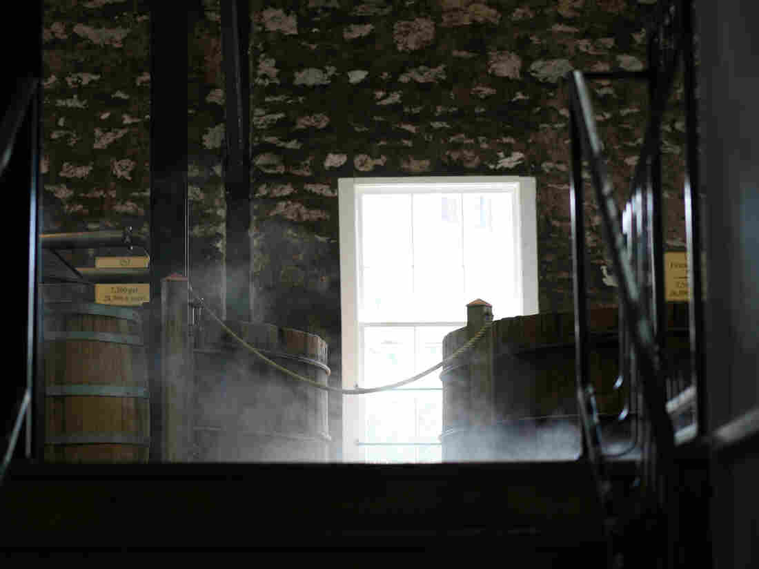 A vat at the Woodford Reserve Distillery, built in 1838 near Versailles, Ky., gets a steam cleaning.
