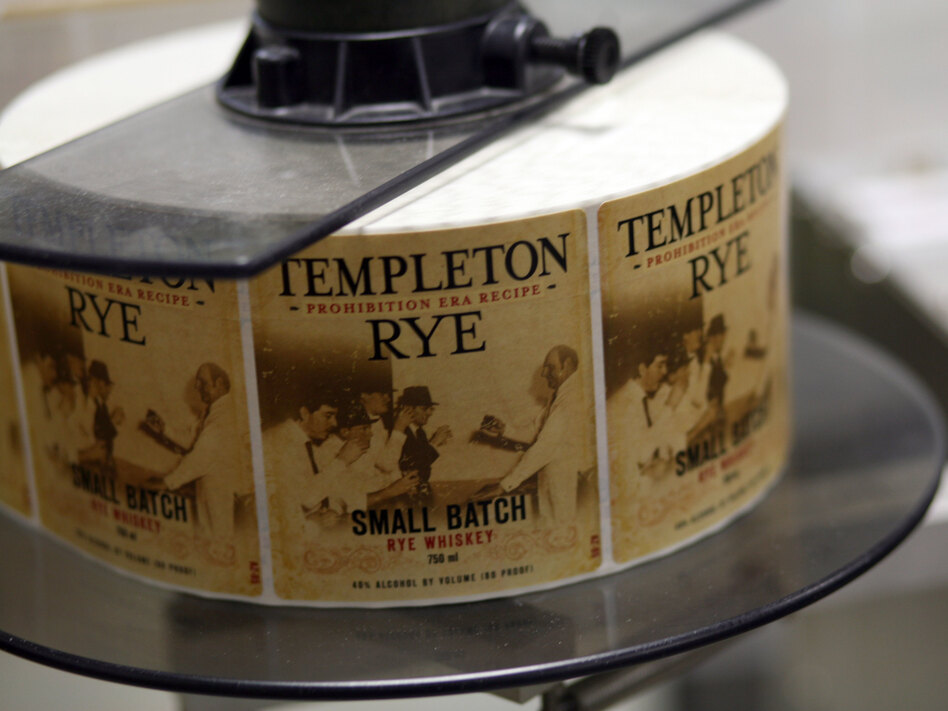 Labels await their bottles at the Templeton Rye plant, in Templeton, Iowa. (NPR)