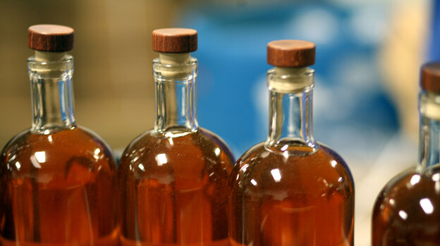 Templeton bottles, filled and almost corked. (NPR)