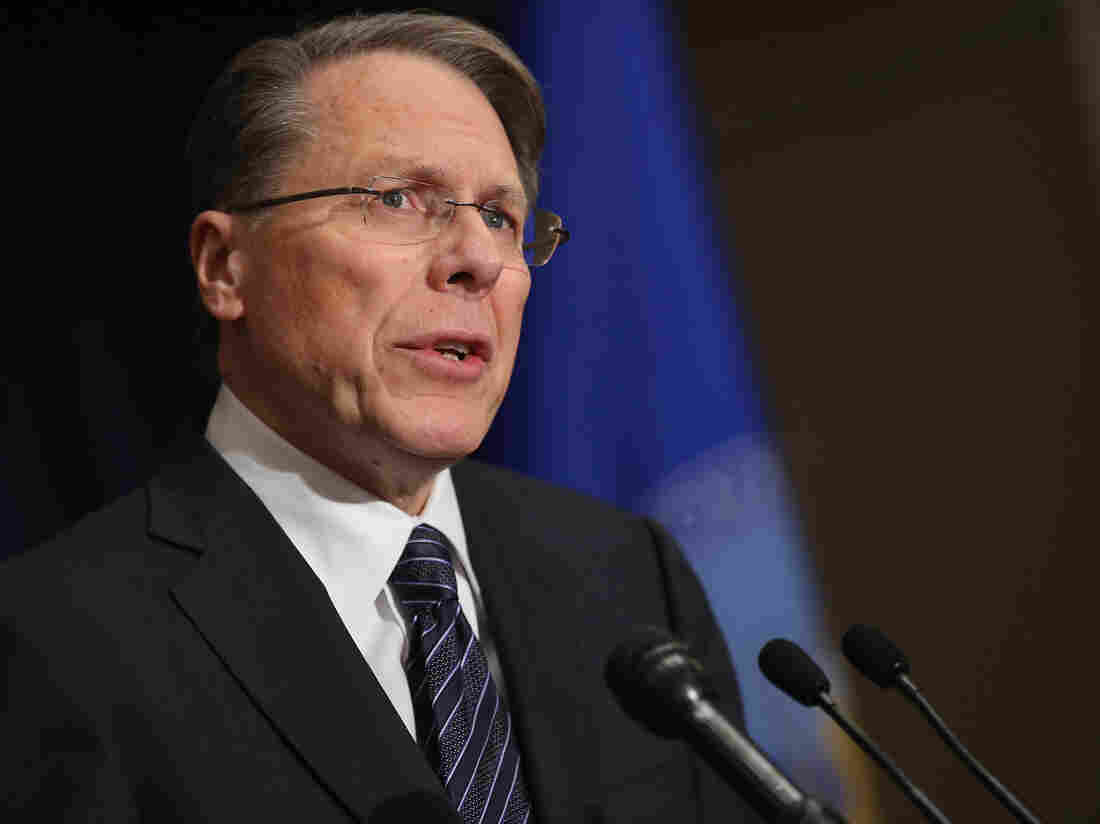 National Rifle Association Executive Vice President Wayne LaPierre at this morning's news conference in Washington, D.C.