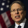 Wayne LaPierre, executive vice president of the National Rifle Association, holds a news conference in Washington, D.C., on Friday.