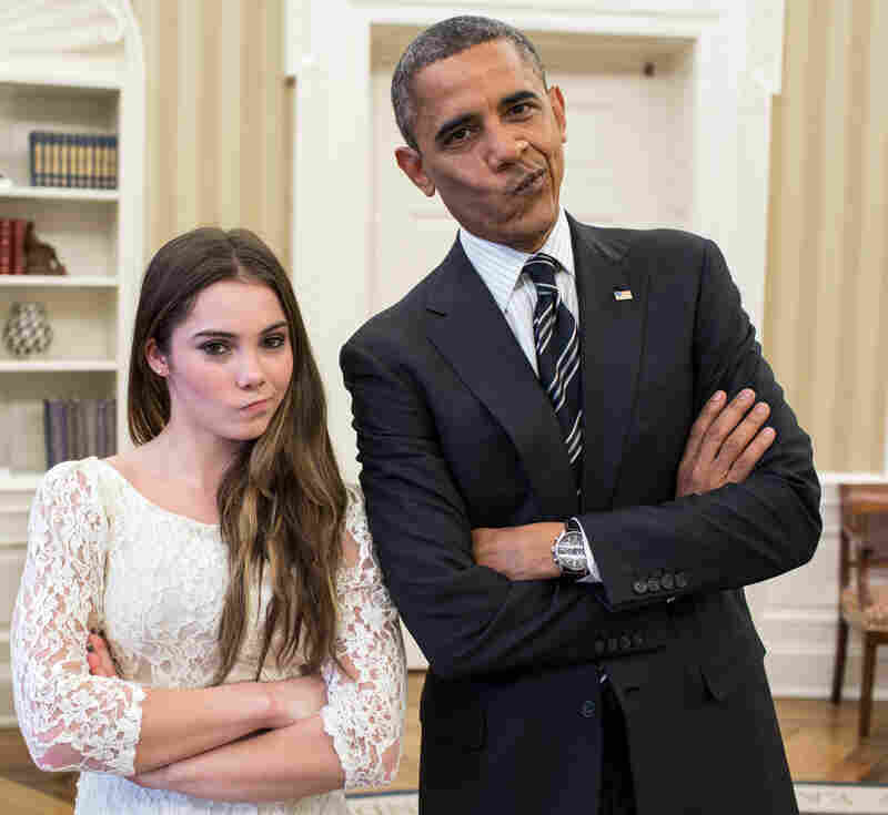 """That's a meme: President Obama and gymnast McKayla Maroney struck her """"McKayla is not impressed"""" pose when members of the Olympics team visited the White House in November."""