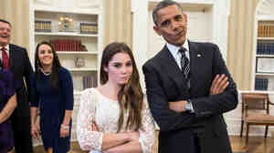 "That's a meme: President Obama and gymnast McKayla Maroney struck her ""McKayla is not impressed"" pose when members of the Olympics team visited the White House in November."