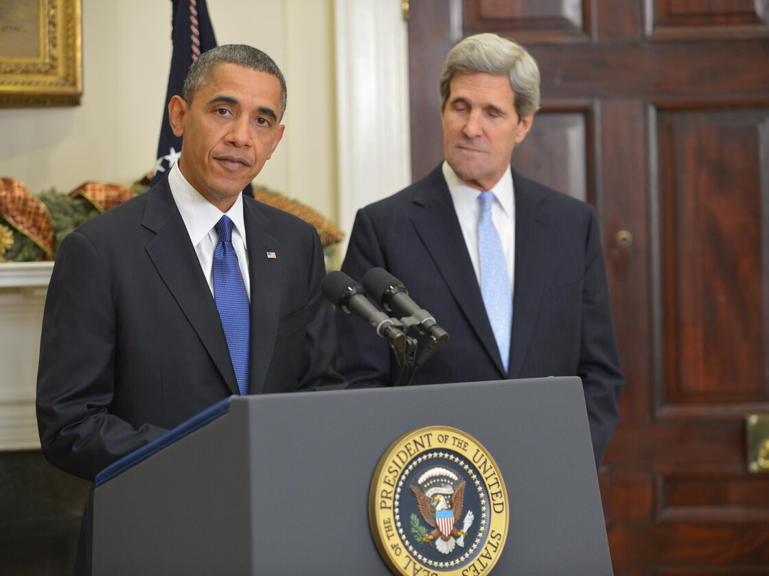 President Obama and Sen. John Kerry, D-Mass., at the White House this afternoon.