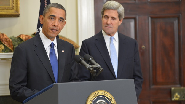 President Obama and Sen. John Kerry, D-Mass., at the White House this afternoon. (AFP/Getty Images)