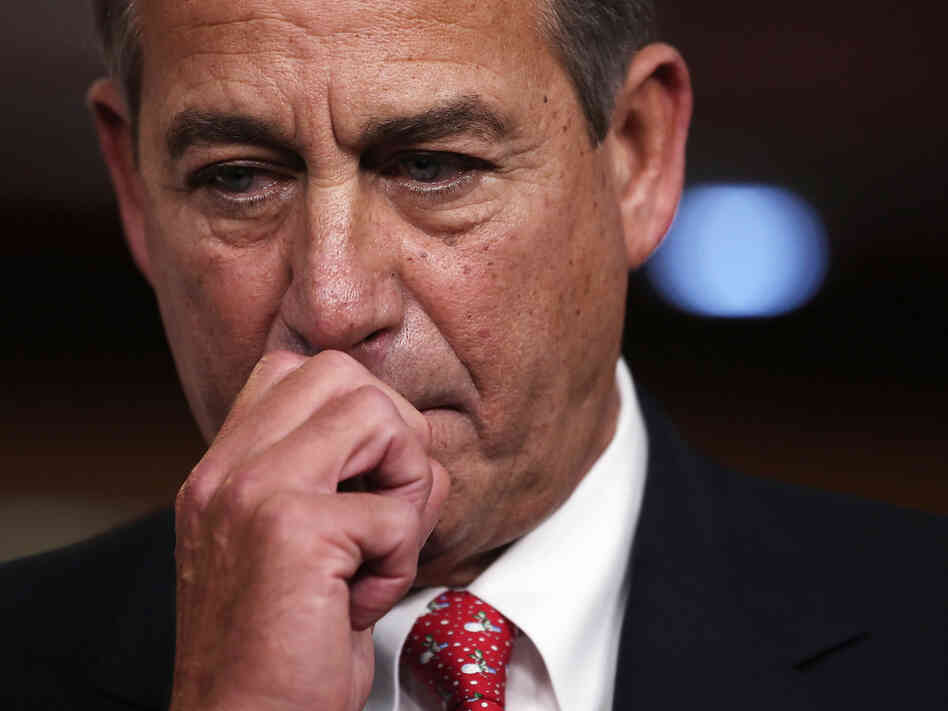 House Speaker John Boehner holds a press conference at the Capitol on Friday. The night before, he did not have enough backing from his own party to pass his fiscal cliff legislation.