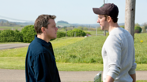 Salesman Steve Butler (Matt Damon) faces a challenge from environmentalist Dustin Noble (John Krasinski) while trying to buy drilling rights in a small town. (Focus Features)