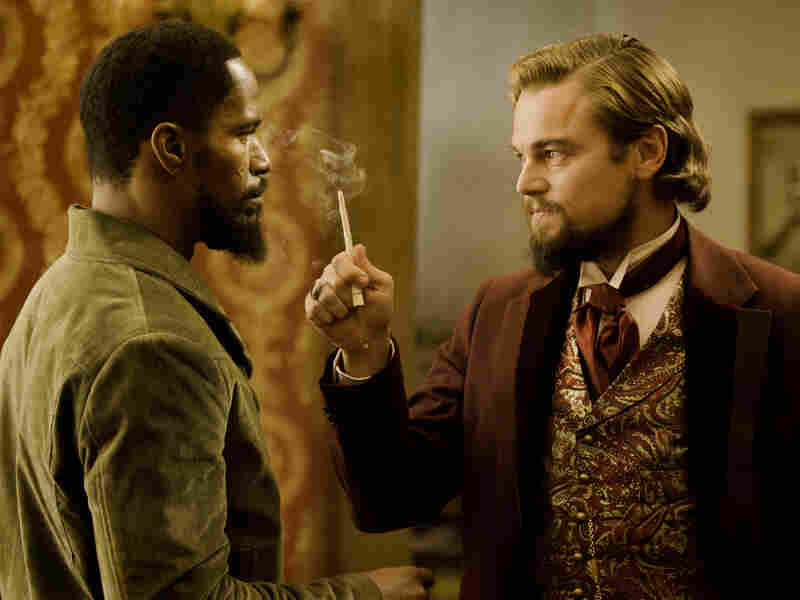 Django confronts Calvin Candie (Leonardo DiCaprio), the man who owns his wife.