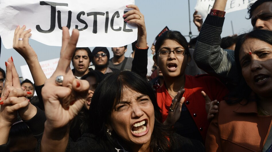 Protestors are storming central Delhi streets, calling for women's safety following a brutal attack on a young woman last weekend. (AFP/Getty Images)