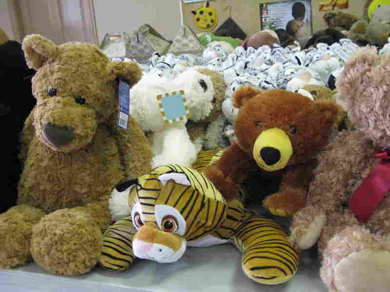 Hundreds of stuffed animals await Sandy Hook students, who will be attending a new school in a neighboring town in January.