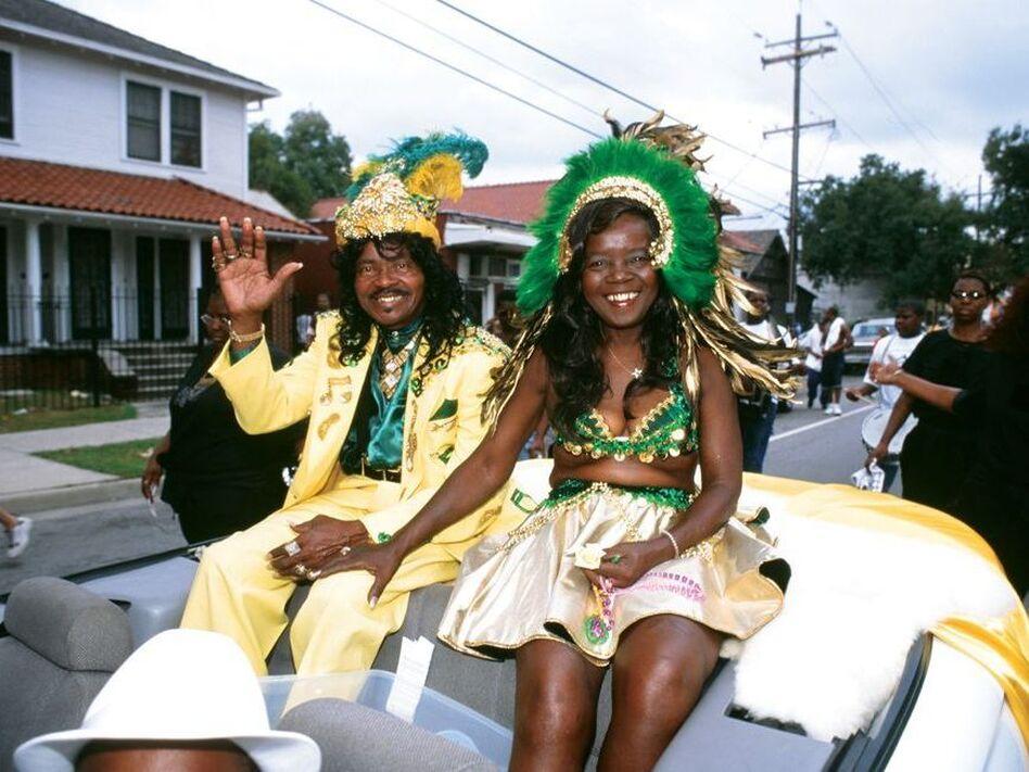Ernie and Antoinette K-Doe in a Treme neighborhood parade in 2000. (Syndey Byrd)