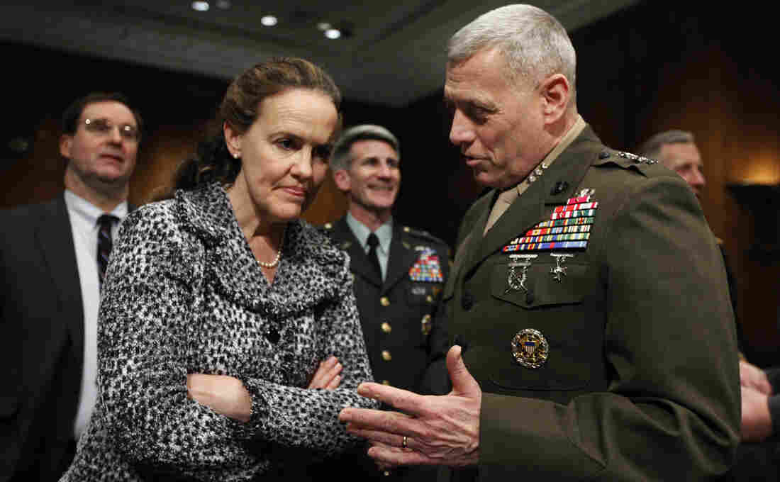 Defense Undersecretary for Policy Michele Flournoy talks with Marines Lt. Gen. John Paxton on Capitol Hill in 2010. Flournoy has since left her position to spend more