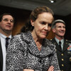 Defense Undersecretary for Policy Michele Flournoy talks with Marines Lt. Gen. John Paxton on Capitol Hill in 2010. Flournoy has since left her position to spend more time with her three children.