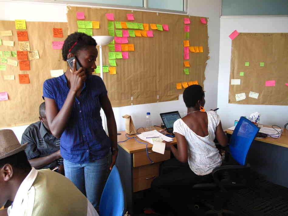 Kenyan Susan Oguya created an app to help farmers in her homeland. Shown here in the office of her company, M-Farm, she also belongs to the group Akirachix, which seeks to bring more Kenyan women into the tech world.