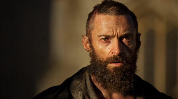Hugh Jackman uses his Broadway-tested voice to give life to reformed criminal Jean Valjean in an epic adaptation of the stage musical Les Miserables.