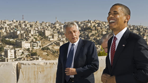 Sen. Chuck Hagel, R-Neb., and then-presidential candidate Barack Obama in Amman, Jordan, in 2008. (AFP/Getty Images)