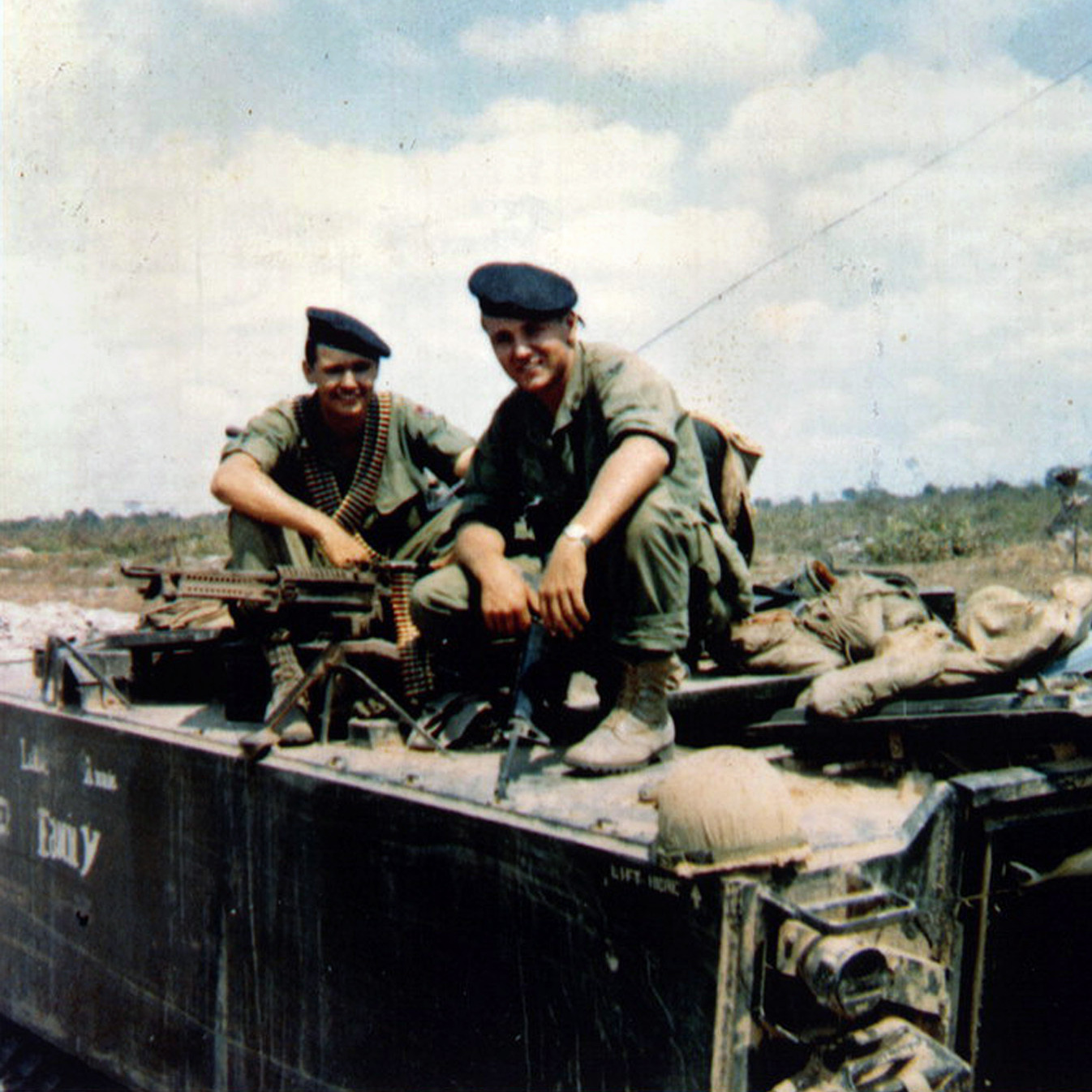 Chuck Hagel (right) and his younger brother Tom sit atop an armored personnel carrier in Vietnam, in a photo taken in or around 1968. The Hagel brothers were squad leaders with the U.S. Army's 9th Infantry Division in the Mekong River Delta.