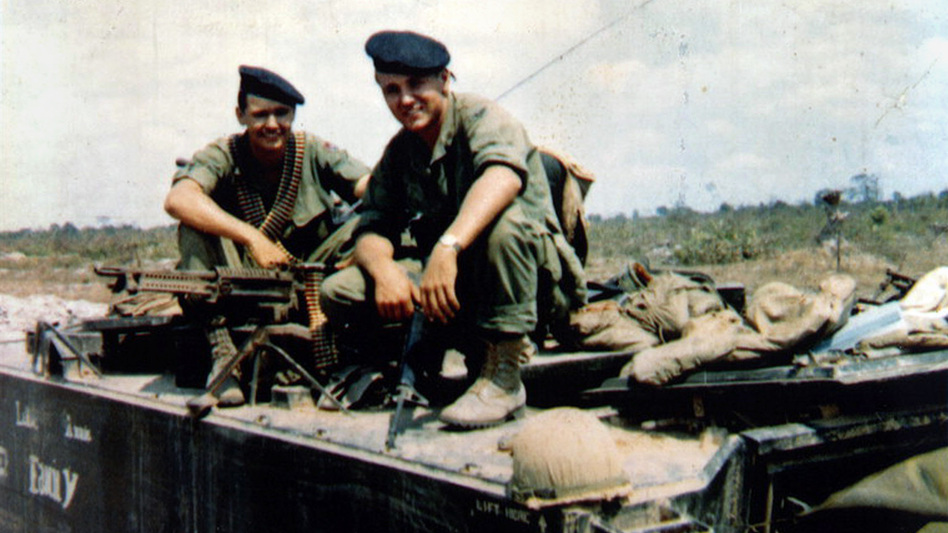 Chuck Hagel (right) and his younger brother Tom sit atop an armored personnel carrier in Vietnam, in a photo taken in or around 1968. The Hagel brothers were squad leaders with the U.S. Army's 9th Infantry Division in the Mekong River Delta. (AP)