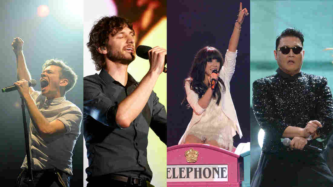The stars of 2012, online and on air (from left): Nate Ruess of fun., Gotye, Carly Rae Jepsen and Psy.
