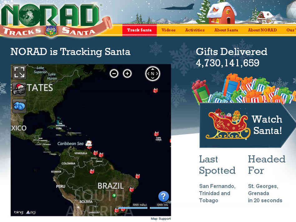 NORAD Tracks Santa, powered