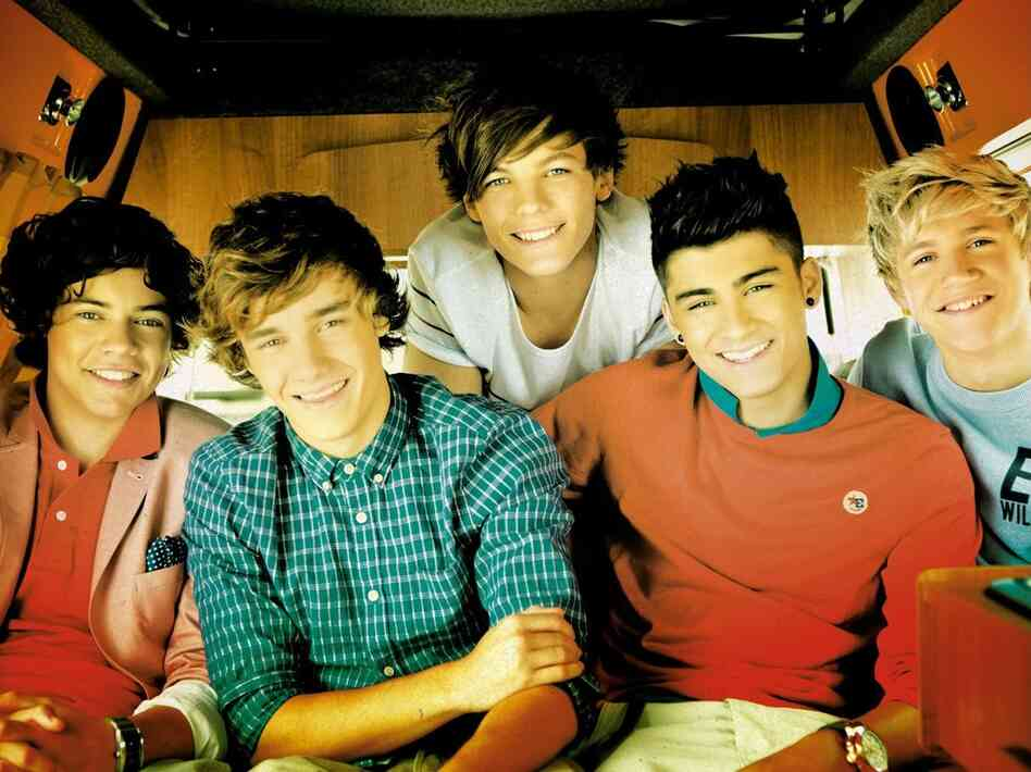 "One Direction, from the cover of its single, ""What Makes You Beautiful."""