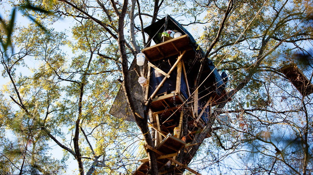David Daniel, an east Texas landowner, was so determined to block the Keystone XL pipeline from coming through his forest that he built an elaborate network of treehouses eight stories above the ground. (NPR)
