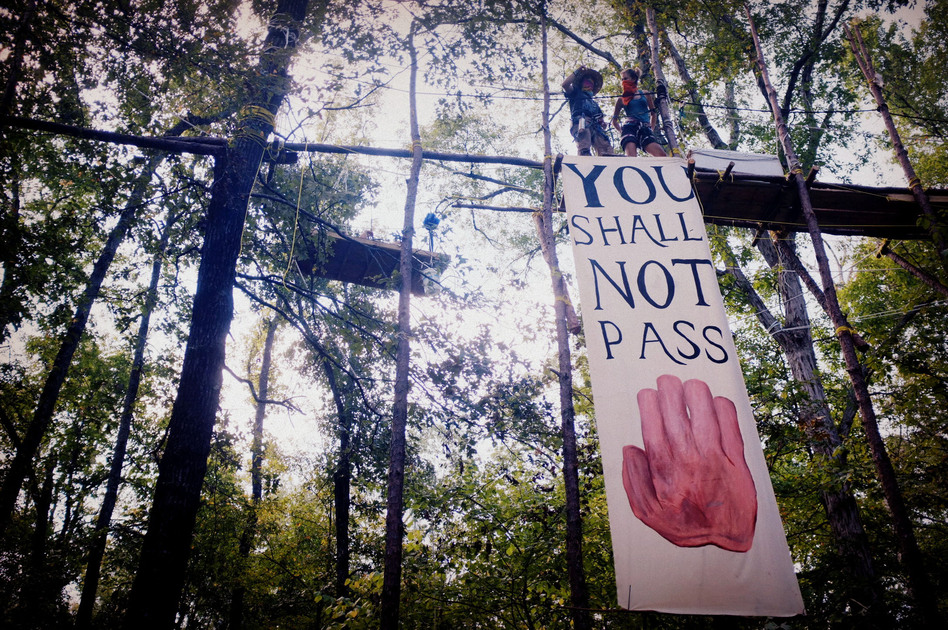 The Tar Sands Blockade protesters hang banners from a 100-foot-long catwalk. There are a total of seven structures suspended in the canopy of the trees with more than 500 feet of wire connecting them. (Flickr)