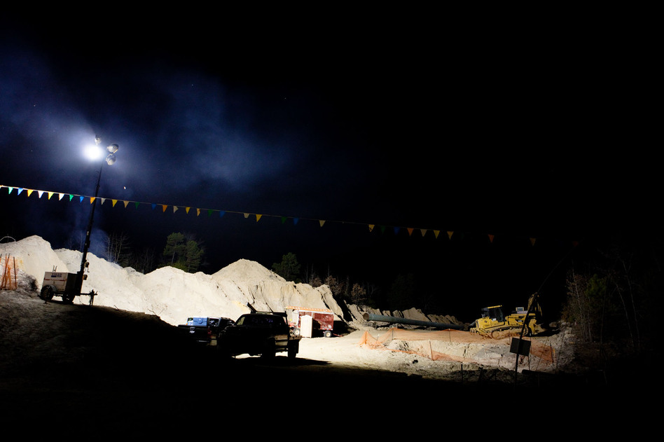 TransCanada's flood lights run throughout the night. (NPR)