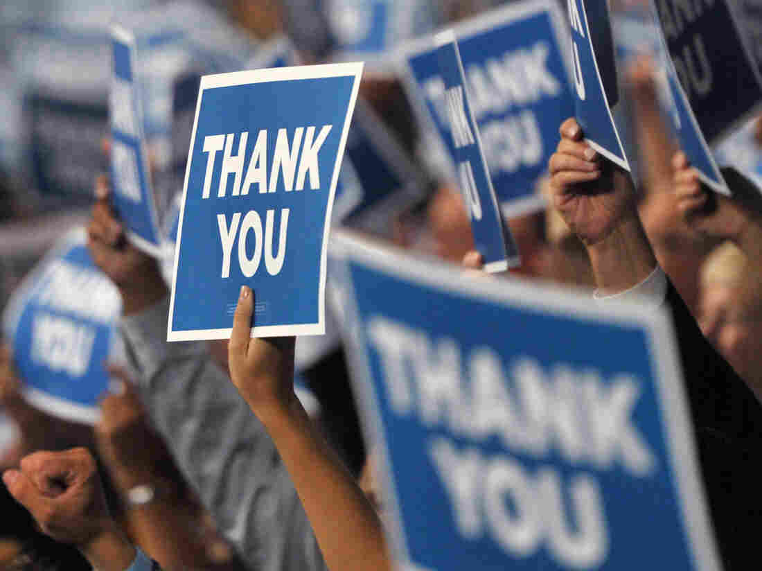 "At the Democratic Convention, ""thank you signs"" showed support for the U.S. Armed Forces."