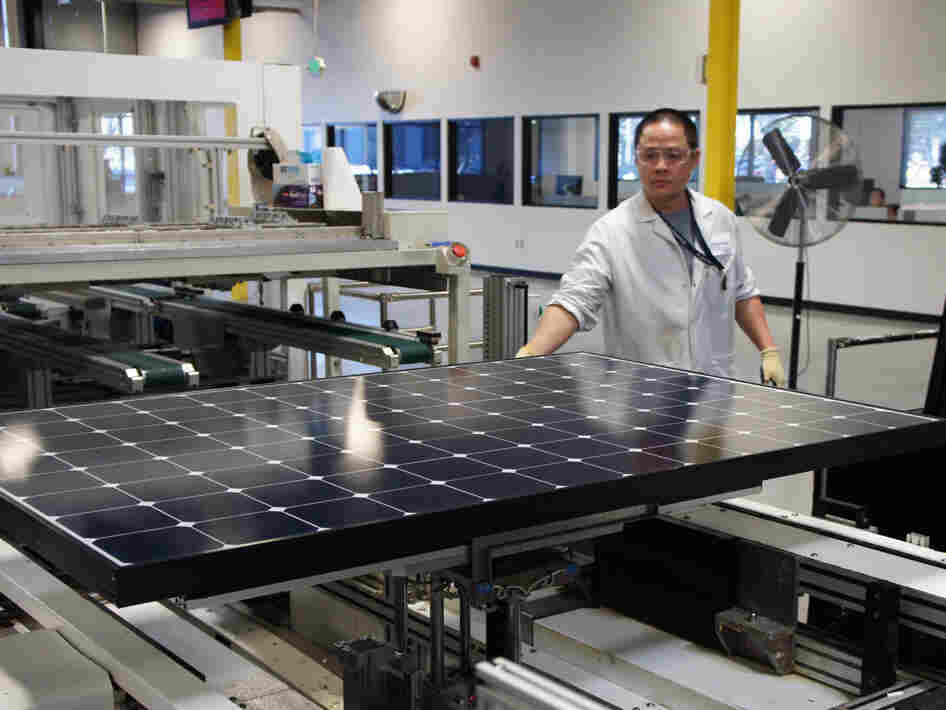 Solar panels come off the line at SunPower's solar manufacturing plant near San Jose, Calif.