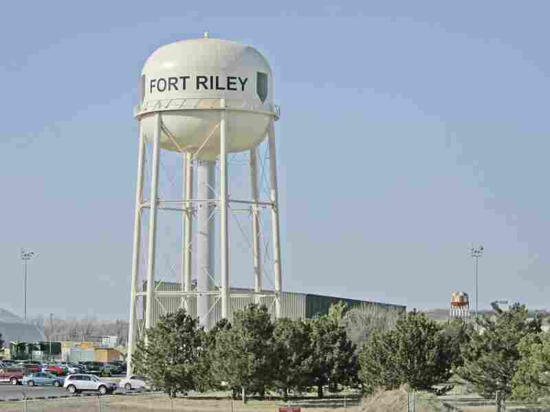 A water tower at Fort Riley, Kans.