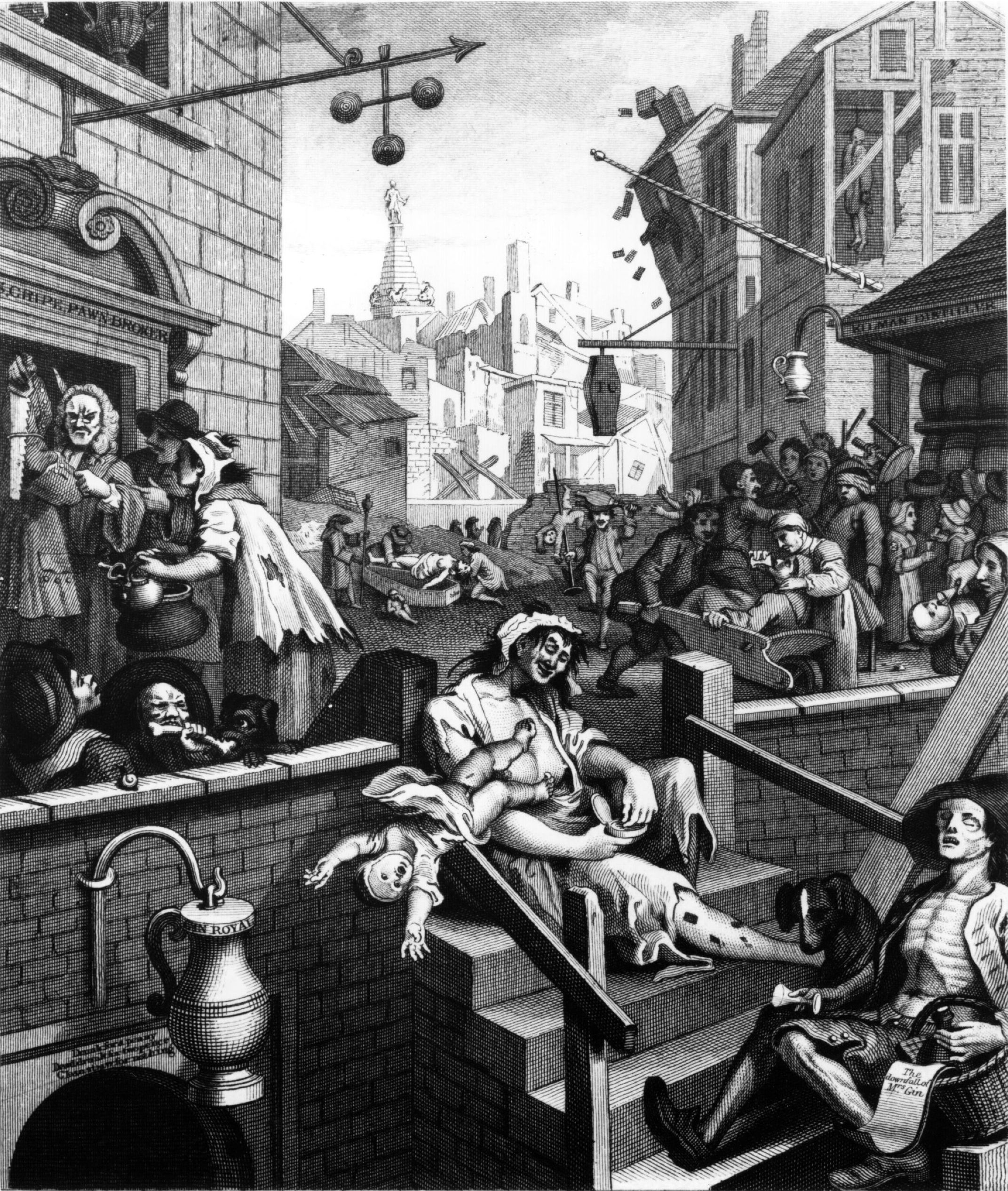 William Hogarth's Gin Lane (1751) was part of a campaign to reduce gin consumption in England.