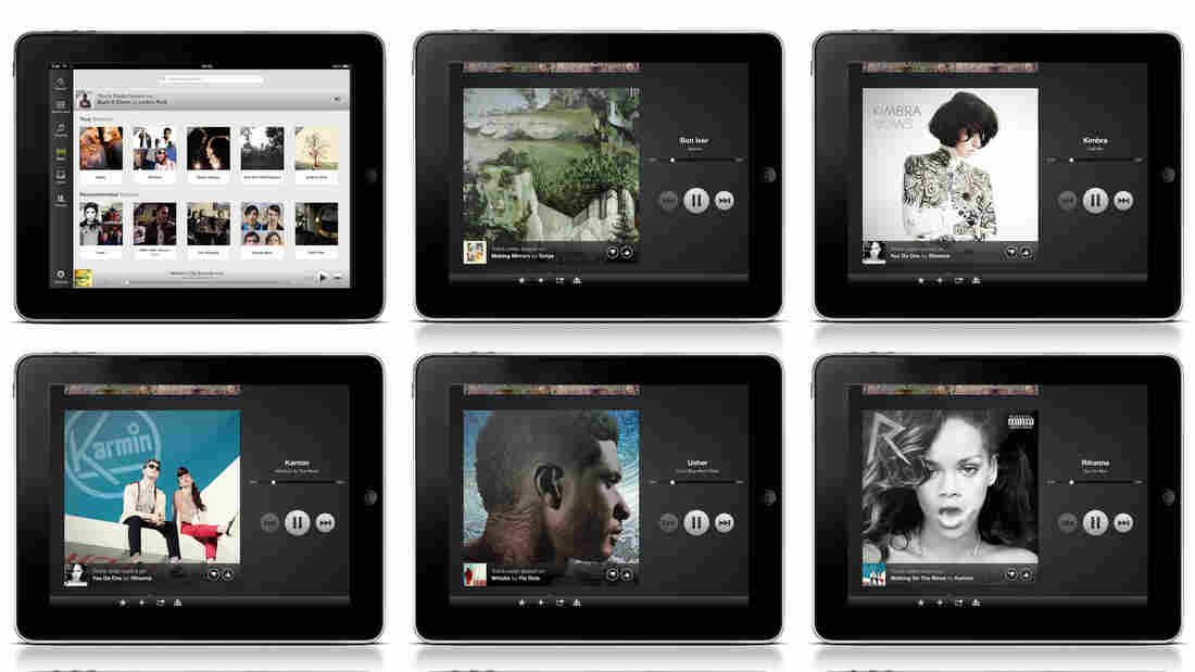 An image provided by Spotify shows music artwork displayed on its mobile app.  Spotify began offering a free radio service for mobile devices in the U.S. in June. Before that, customers had to pay $10 per month to use its mobile app.