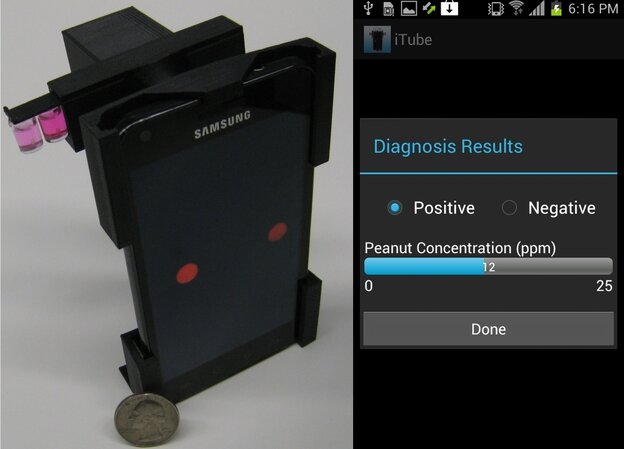 The iTube platform, left, uses colorimetric assays and a smartphone-based digital reader to detect potential food allergen. A screen capture of the iTube App appears on the right.