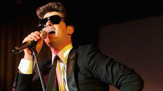 """Robin Thicke performs in Feburary. His song, """"Another Life"""" leaked on the Internet this summer, but didn't land on the charts. (Getty Images)"""