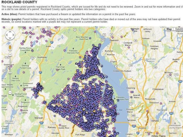 "<em>The Journal News'</em> map of gun owners in Rockland County, N.Y. <a href=""http://www.lohud.com/interactive/article/20121223/NEWS01/121221011/Map-Where-gun-permits-your-neighborhood-"">At its website</a>, the image is interactive so that users can see who has handgun permits and where they live."