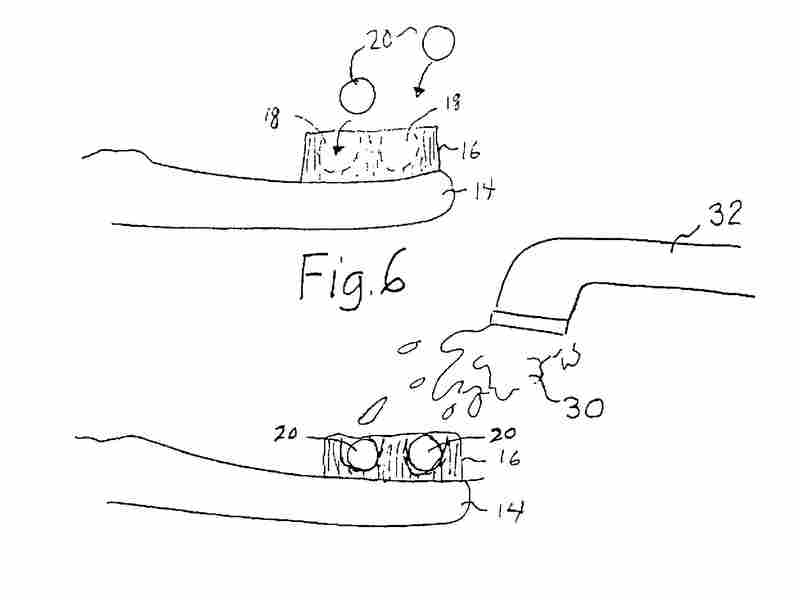 """A drawing from Joshua Atkin's 2012 patent for """"Dehydrated Dentifrice And Toothbrush."""""""
